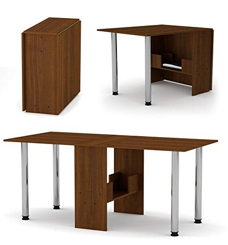 Rodnik Klappbarer Tisch- Esstisch - Klapptisch - Funktionstisch - Bürotisch - Nussbaum-Holzoptik-mit Metallbeinen