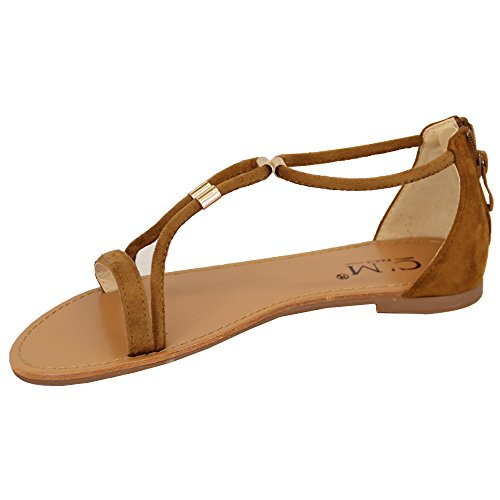 Sandales Plates Femmes Femmes Cuir Suédé Look Bout Ouvert Chaussures Spartiates Mode Été chameau - 8839237