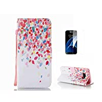 Case For Galaxy S8 [With Tempered Glass Screen Protector],Fatcatparadise(TM) Anti Scratch Flip Soft Silicone Back Cover Case ,Colorful Cute Pattern Design Flip Magnetic Premium PU Leather Credit Card Folio Holder Wallet Case For Galaxy S8 (Design#5)