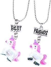 852508bb8efa Mejores amigas collares para niñas niños Rainbow unicornio colgante plata collares  Set de 2 amistad