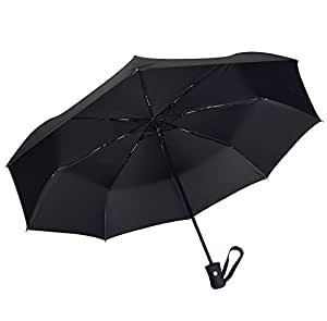 Coomatec Parapluie Pliant - Solide Incassable - Résistant Au Vent - Ouverture et Fermeture Automatique - Noir Classique de Voyage Parapluies Pliable Automatique