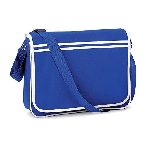 BagBase Retro Tasche im Retro-Stil Schultergurt Messenger 40x30x10cm 12L Freizeit Bright Royal/ White