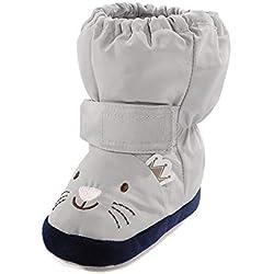 LACOFIA Botas Antideslizantes con Suela Blanda para bebé niños niñas Zapatos de Invierno cálido para bebé Unisex Gris Gato 6-12 Meses