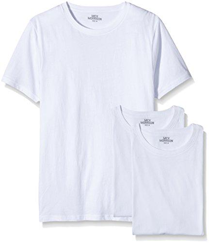 Mick Morrison Herren T-shirt Rundhals 3er Pack Weiß (Weiß)