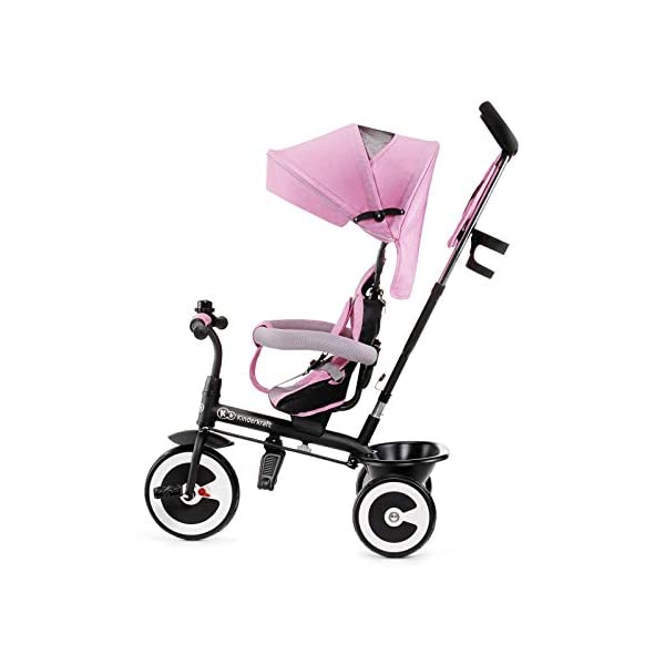 Kinderkraft Aveo KKRASTOPNK0000 Tricycle with Accessories in 3 Colours Pink kk KinderKraft Five point safety straps for the shoulders and an additional strap between the legs to protect the child from falling out A mechanism that connects the parent handlebar with the child's handlebar so that parents can have full control over the bike guidance when required. Free-wheel that causes the child to rmble freely regardless of the person who leads the bike 5