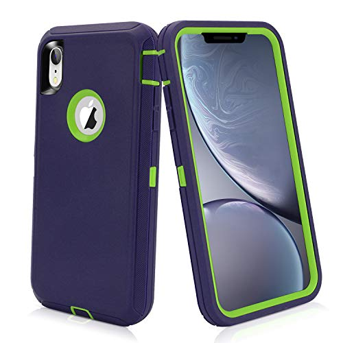iPhone XR Schutzhülle 3-in-1, strapazierfähiges Material, robust, stoßfest, Harte Polycarbonat + weiche TPU-Hülle für Apple iPhone XR in 15,2 cm, Navy Lime Heavy Duty Digital-kameras