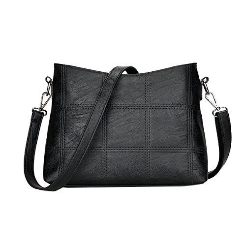 PU Frauen Einfach Freizeit Bunt Wearable All-Spiel Klein Taschen Einzel Umhängetasche Black