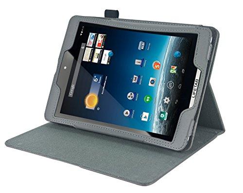 Navitech Graue Executive Echte Premium Leder Flip Trage Tasche mit Einstellbarem Ständer und KFZ Kopfstützenhalterung für das neue Medion Lifetab S7852 und S7851 8 Zoll Internet Tablet wie bei ALDI