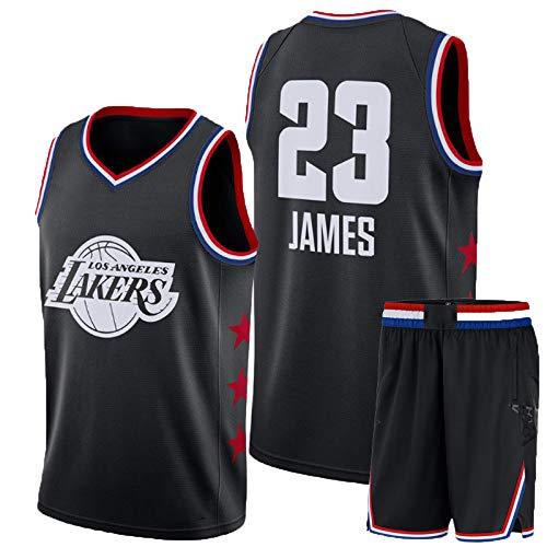 Lebron James # 23 Herren-Basketballtrikot - NBA Los Angeles Lakers, ärmellose T-Shirts, Jersey Und Kurze Hosen,Black(A)-M - Lebron James Nba