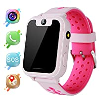 Kids GPS Smart Watch - Boys Girls Smartwatch GPS Tracker with Step Counter Geo Fence SOS Flashlight Camera Voice Chat Math Game Holiday Birthday Watch Gifts Compatible with iOS Android (V6-Pink)