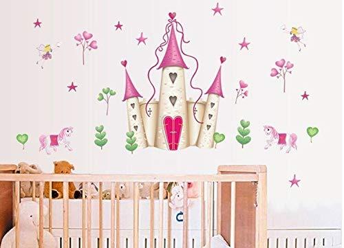 GYK Boutique Rose Princess Castle Wandaufkleber, 60x90cm