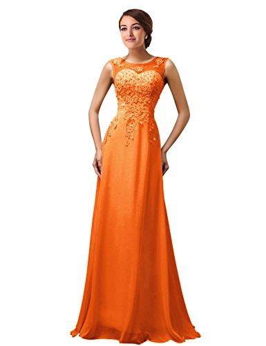 MicBridal®robe de soirée longue cocktail mariée robe de bal longue princesse col V Coeur tulle dentelle à fleur Orange