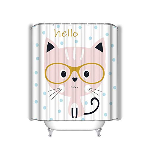 sdfwerweq Beach Shower Curtain Cute Cat Glasses Sweet Background Blue Circles Cartoon Kitty Card Design Prints Lettering Hello Fabric Bathroom Decor 60 X 72 inch