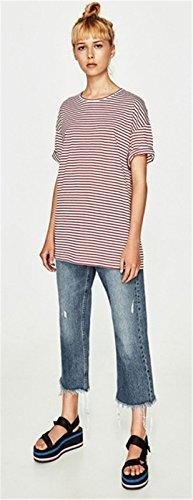 Preppy Look Style a Maniche Corte A Righe T-Shirt Maglietta Tee Top rosso bianco Rigato Strisce rosso bianco Rigato Strisce