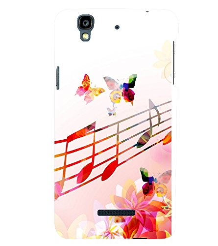 printtech Music Notes Butterfly Back Case Cover for YU Yureka Plus