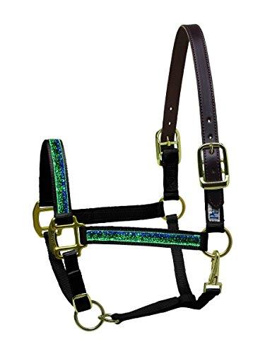 Perri 's Nylon Sicherheit Pferd Schleifenband mit Glitzereffekt Halfter, Blackburn (Aus Messing Krone Pferd)