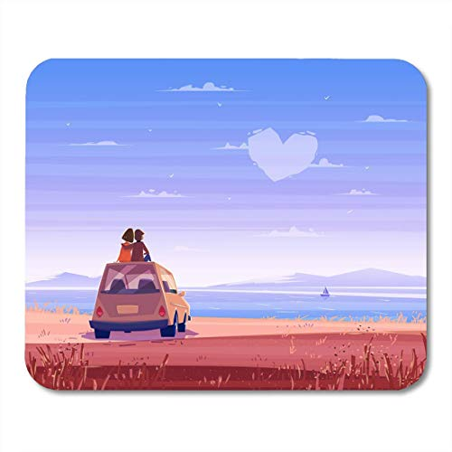 Deglogse Gaming-Mauspad-Matte, Two Happy Lovers Sitting Roof of Car and Look Mouse Pad, Desktop Computers mats