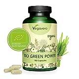 Superfood Vegavero® | BIOLOGICO | con ERBA GRANO e DI ORZO | Depurativo naturale | 180 capsule | Vegan
