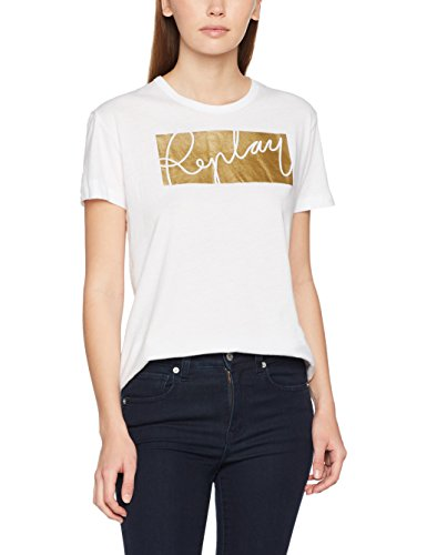 Replay Damen T-Shirt Logo Shirt, Weiß (Optical White 1), X-Large (White T-shirt X-large)