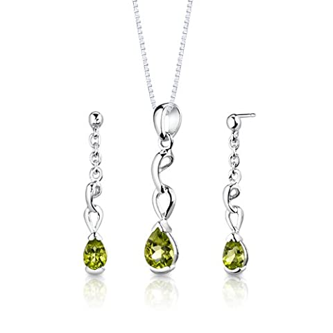 Revoni Sterling Silver 1.50 carats total weight Pear Shape Peridot Pendant Earrings and 46 CM Length Silver Necklace