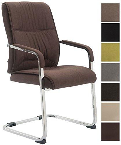 CLP XXL-Freischwinger Anubis mit Stoffbezug und Gepolsterter Sitzfläche I Konferenzstuhl mit Metallgestell in Chrom-Optik I In Verschiedenen Farben erhältlich Braun
