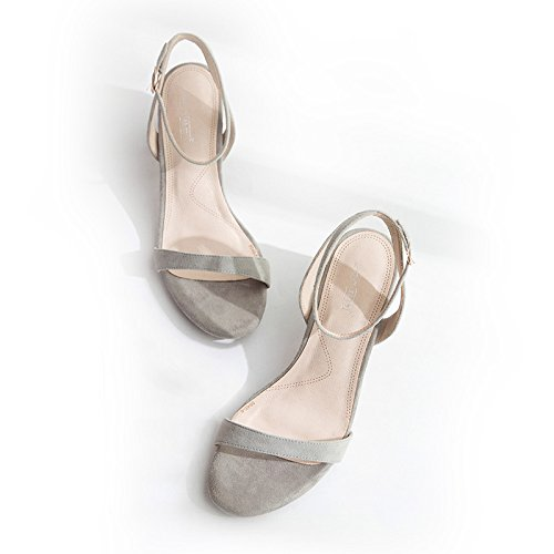 Xy & GK die Kleidung Sommer-Sandale Schnalle Wort all-match Ferse Sandale Leder in Rom, bequem und schön 39 grey