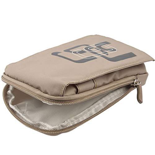 DFV mobile - Etui Schutzhülle Vielgebrauch mit Fächer, Reißverschluss, Schlaufe für Gürtel und Karabiner Haken für=> UMI Hammer S > Beige (16 x 9.5 cm)