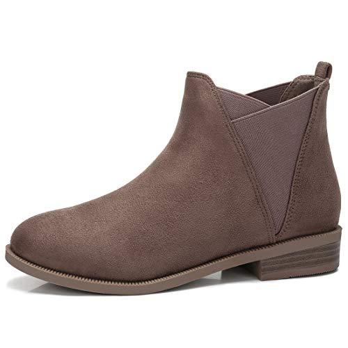 CAMEL CROWN Chelsea Boots Damen Ankle Boots Slip-On Stiefeletten Flache Blockabsatz Stiefel Klassisch Komfortable Rutschfest für Daily Casual Schwarz Taupe Beige -