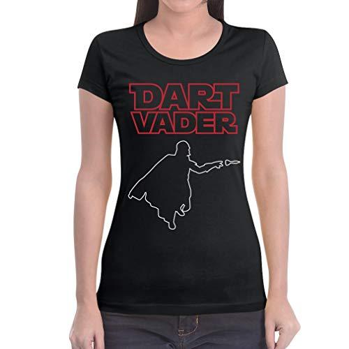 Dart Vader - Witziges Damen Dart Shirt für Darts Fans Frauen T-Shirt Slim Fit Medium Schwarz