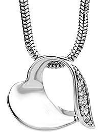 Miore Damen-Halskette mit Herz-Anhänger / Wunderschöne Kette aus 925 Sterling Silber mit Zirkonia Steinen / Halsschmuck 45 cm lang, Silber