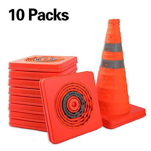 Worth 10 x Coni spartitraffico Stradale Coni 45 Arancione Chiaro con 2 Coni di Sicurezza Silver Stripes Grigio