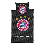 FC Bayern München Wendebettwäsche, Bettwäsche schwarz Rautenprint FCB - Plus gratis Lesezeichen I Love München