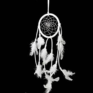 OULII Attrape-rêves Dream Catcher Dreamcatcher vent carillon plume à la main (blanc)