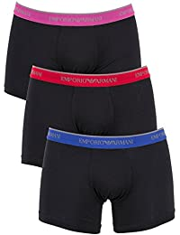 Emporio Armani Homme 3 Pack de coton stretch Logo Trunks, Noir