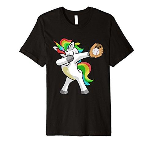 Baseball-mom-mädchen T-shirt (Sanftes Einhorn Baseball T-Shirt Funny DAB Geschenk Shirt)