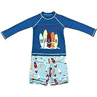 Gogokids Niños Dos Piezas Traje de Baño - Bebé Bañador Manga Larga Ropa de Natación Nadar Camiseta y Pantalones Cortos