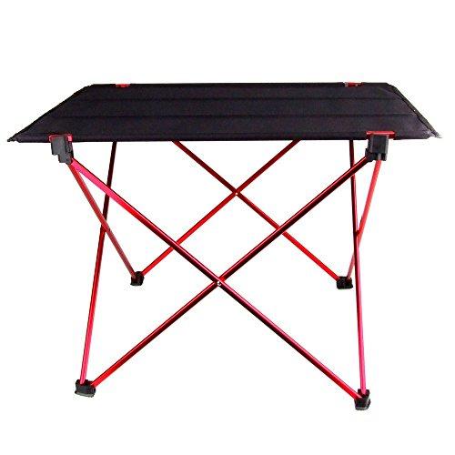TOOGOO(R) Portable pliable Table pliante bureau Camping pique-nique en plein air 7075 Alliage d'aluminium Ultra-leger Noir+Rouge