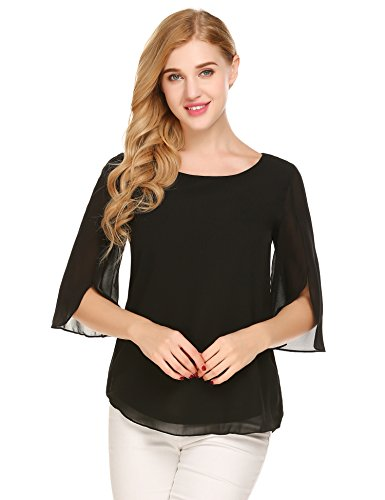 Beyove Damen Bluse 3/4 Ärmel Beiläufiger Chiffon Loose Fit Shirt Tops mit Rundhals (Shirt Chiffon Top)