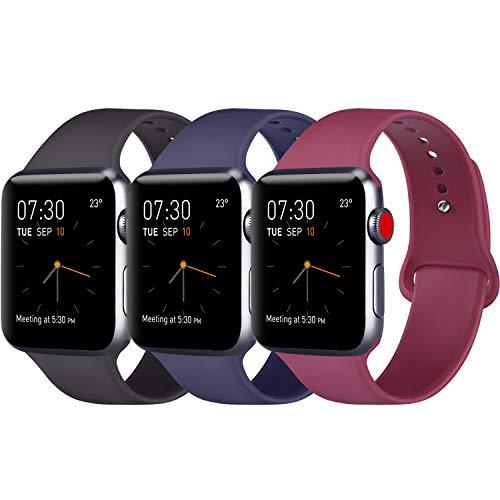 ATUP Armband Kompatibel für Watch Armband 38mm 42mm 40mm 44mm, Weich Silik on Ersatz Armband für iWatch Series 4, Series 3, Series 2, Series 1 (3-Pack Black+Navy Blue+Wine red, 42mm/44mm-M/L)