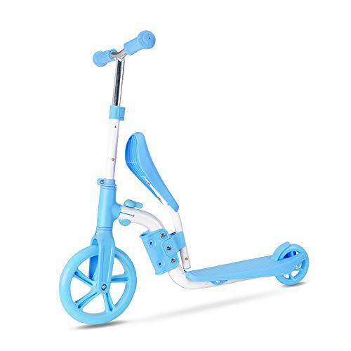 Explopur 2 in 1 Kids Scooter - Kinder Balance Bike Skateboard Walker Klappständer Sitz - für 3 bis 15 Jahre alt Blau (Für Walker Einem Babys In 2)