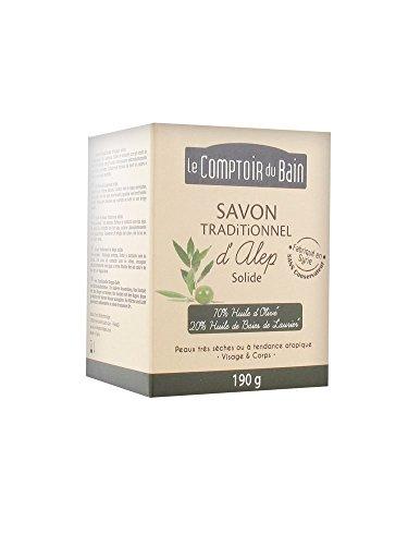 Jabón de Alepo Tradicional 20% Aceite de Bayas de Laurel 70% Aceite de Oliva 190 g