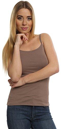 Italian Fashion IF Damen Top mit schmalen Trägern Ibiza Graphite