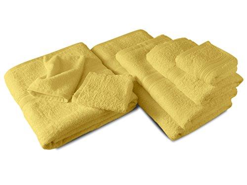 Packs zum Sparpreis - solide Frottiertücher - erhältlich in 18 modernen Farben und 8 verschiedenen Größen, 6er Pack Seiftücher (30 x 30 cm), gelb
