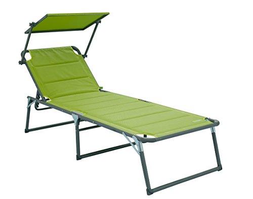 Meerweh Aluminium Gartenliege XXL Liege mit Dach Sonnenliege Aluliege, grün, ca. 200 x 70 cm