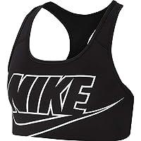 Nike Women's Swoosh Futura Bra, Black (Black/White), Small