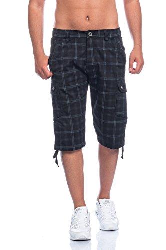 Herren Bermuda Shorts Kurze Hose Karo Bunt S M L XL XXL .Auch als Badeshorts und Freizeithose BG 300 Schwarz