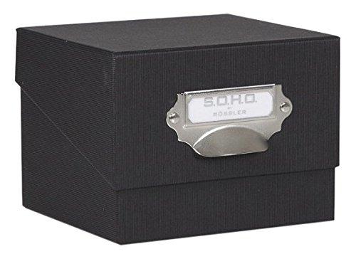 Rössler Papier 1325452700, Foto-Aufbewahrung- Sammelkiste, Unifarben schwarz