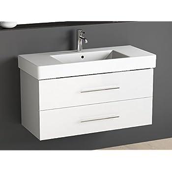 Aqua Bagno Badmöbel 100 cm inkl. Keramik Waschtisch Waschplatz mittig/Badezimmer Möbel inkl. Waschbecken Unterschrank weiß Lackiert
