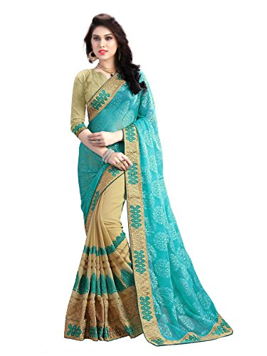 Aneeka Fashion Light Blue & Beige Color Embroider Designer Saree Bollywood Sari...