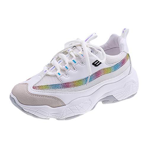 NMERWT Damen Turnschuhe Laufschuhe Leichte Schuhe Sneakers Damen Cross-Tied Mixed Color Lace-up Sportschuhe Casual Turnschuhe
